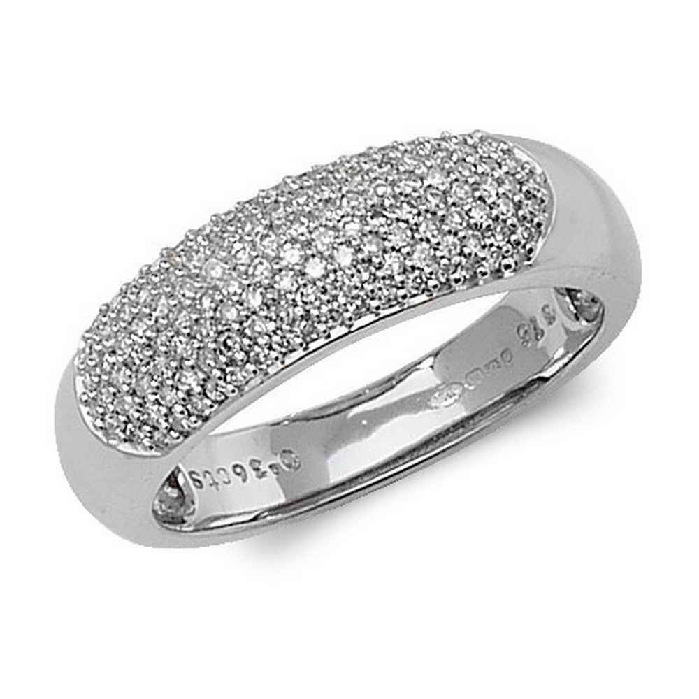 Dome Shaped Pave Set Diamond Ring in 9ct White Gold (0.36ct)
