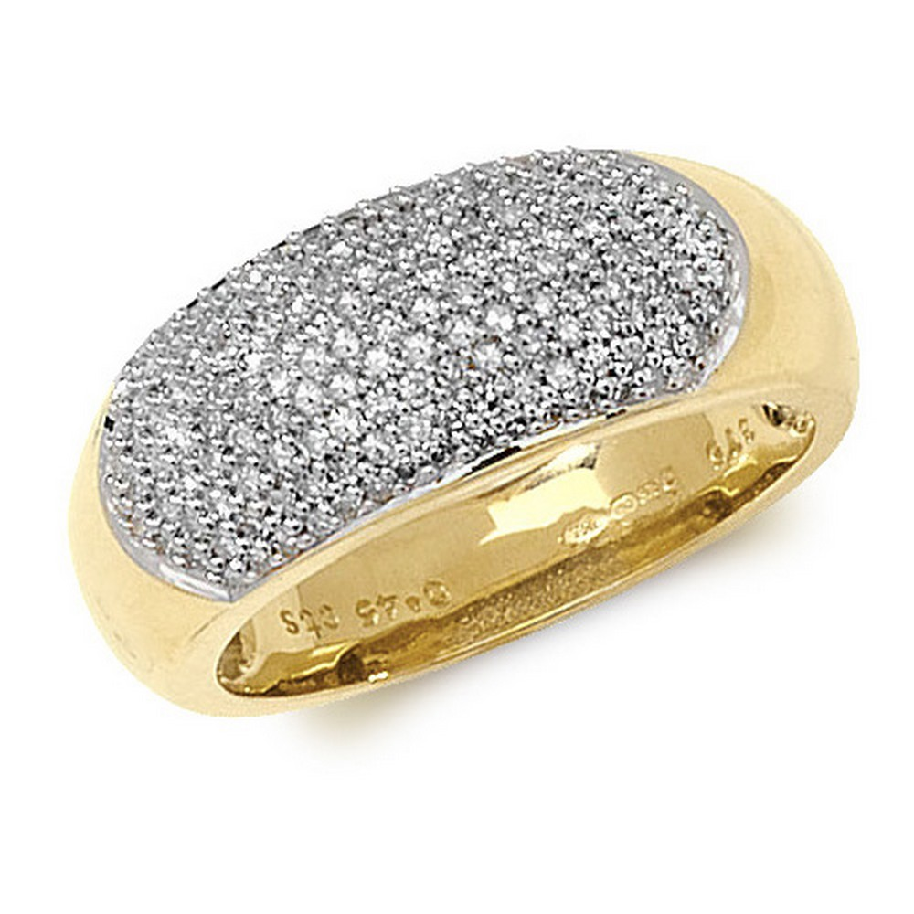 Dome Shaped Pave Set Diamond Ring in 9ct Yellow Gold (0.45ct)