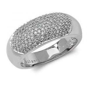 Dome Shaped Pave Set Diamond Ring in 9ct White Gold (0.45ct)