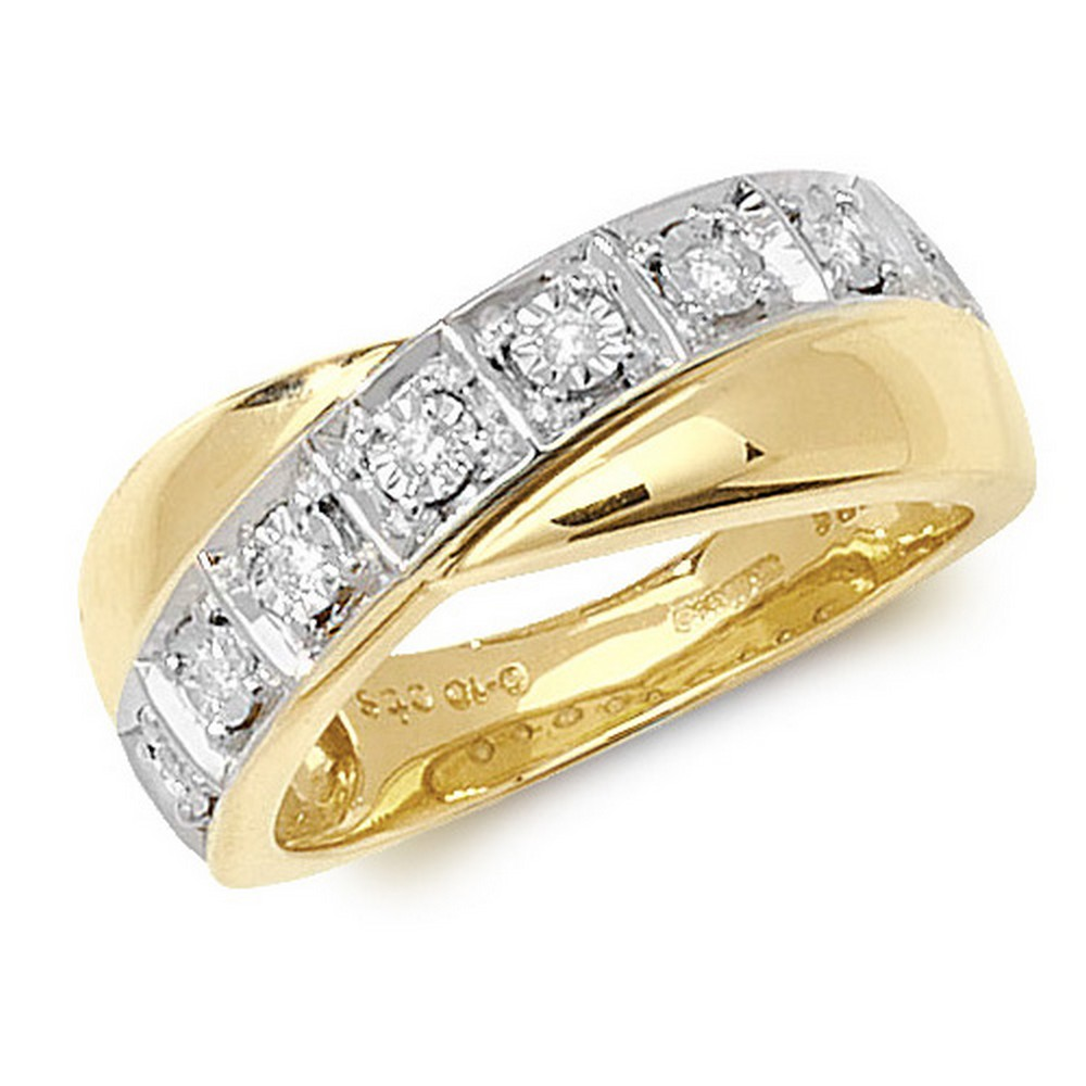 Crossover Diamond Ring/Band in 9ct Yellow Gold (0.10ct)