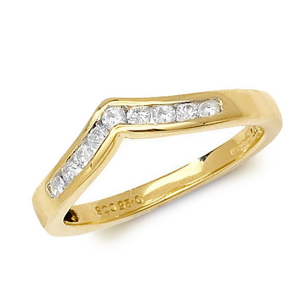 Channel Set Wishbone Style Ladies Diamond Ring in 9ct Yellow Gold (0.25ct)