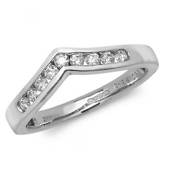 Channel Set Wishbone Style Ladies Diamond Ring in 9ct White Gold
