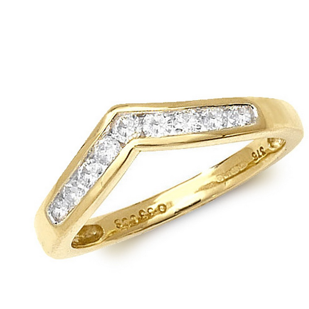 Channel Set Wishbone Style Ladies Diamond Ring in 9ct Yellow Gold (0.33ct)