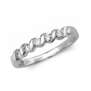 Twist Design Half Eternity Diamond Ring in 9ct White Gold (0.25ct)