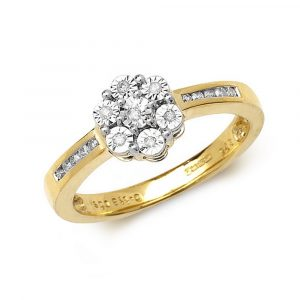 Diamond Illusion Set Diamond Cluster Ring with Diamond Shoulders in 9ct Yellow Gold (0.12ct)