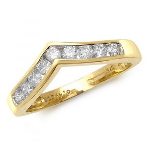 Channel Set Wishbone Style Ladies Diamond Ring in 9ct Yellow Gold (0.50ct)