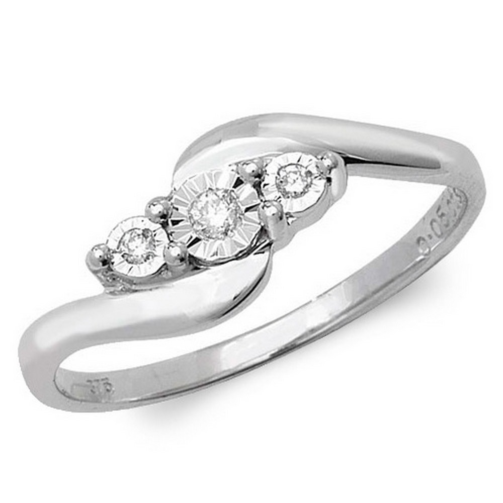 Illusion Set Three Stone Diamond Twist Ring in 9ct White Gold (0.05ct)