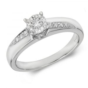 Diamond and Channel Set Crossover Inspired Ring in 9ct White Gold (0.19ct)