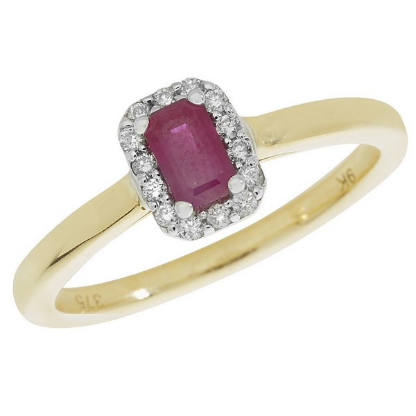 Diamond and Octagon Shaped Ruby Cluster Style Ring in 9ct Yellow Gold
