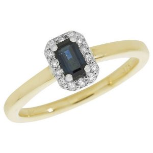 Diamond and Octagon Shaped Sapphire Cluster Style Ring in 9ct Yellow Gold