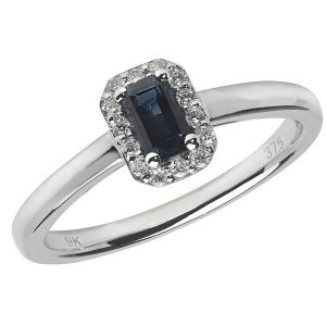 Diamond and Octagon Shaped Sapphire Cluster Style Ring in 9ct White Gold
