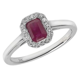 Diamond and Octagon Shaped Ruby Cluster Style Ring in 9ct White Gold