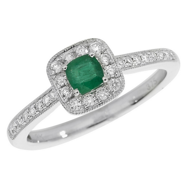 Diamond and Cushion Shaped Emerald Ring with Diamond Shoulders in 9ct White Gold