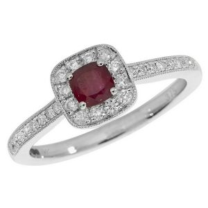 Diamond and Cushion Shaped Ruby Ring with Diamond Shoulders in 9ct White Gold