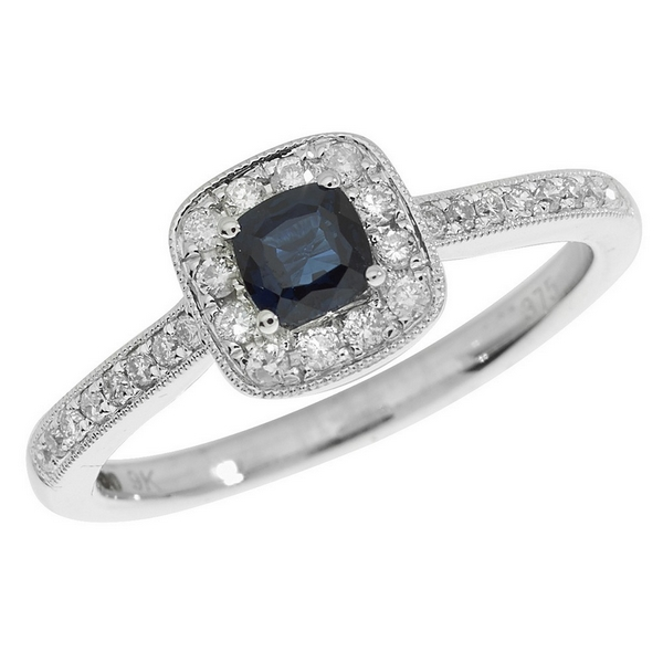 Diamond and Cushion Shaped Sapphire Ring with Diamond Shoulders in 9ct White Gold