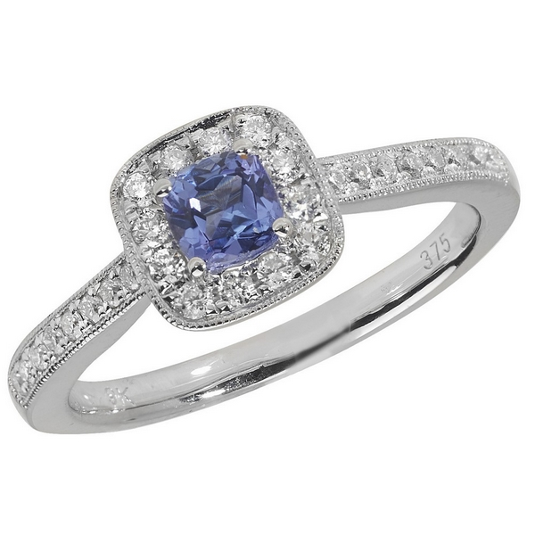 Diamond and Cushion Shaped Tanzanite Ring with Diamond Shoulders in 9ct White Gold
