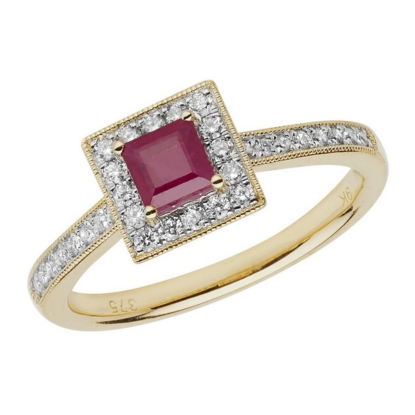 Diamond and Cushion Shaped Ruby Ring with Diamond Shoulders in 9ct Yellow Gold