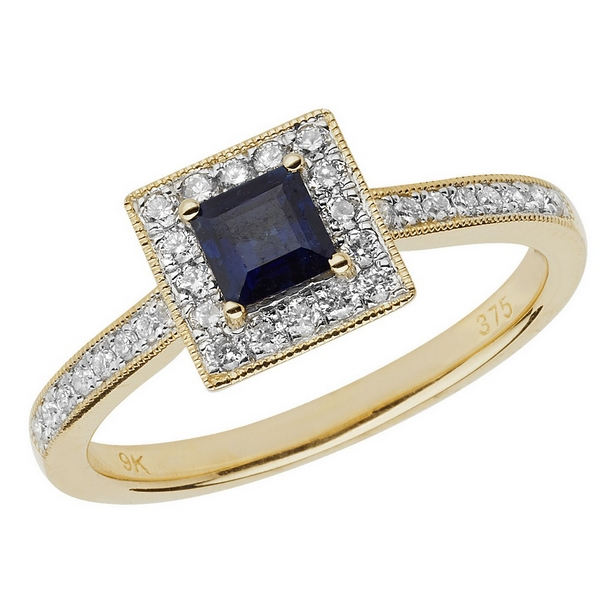 Diamond and Cushion Shaped Sapphire Ring with Diamond Shoulders in 9ct Yellow Gold