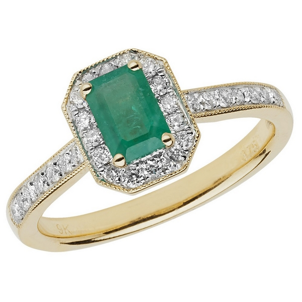 Diamond and Octagon Cut Emerald Cluster Ring with Diamond Shoulders in 9ct Yellow Gold