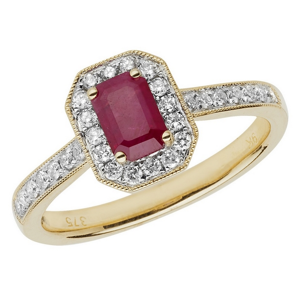 Diamond and Octagon Cut Ruby Cluster Ring with Diamond Shoulders in 9ct Yellow Gold