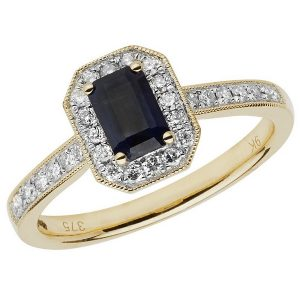Diamond and Octagon Cut Sapphire Cluster Ring with Diamond Shoulders in 9ct Yellow Gold