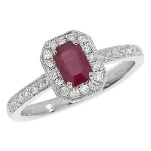 Diamond and Octagon Cut Ruby Cluster Ring with Diamond Shoulders in 9ct White Gold