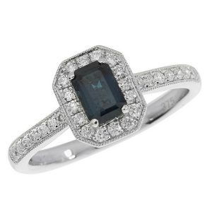Diamond and Octagon Cut Sapphire Cluster Ring with Diamond Shoulders in 9ct White Gold