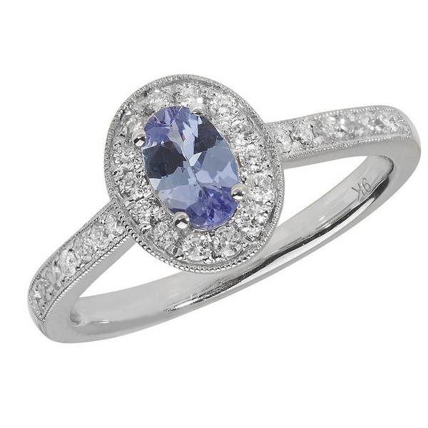 Diamond and Oval Cut Tanzanite Cluster Ring with Diamond Shoulders in 9ct White Gold