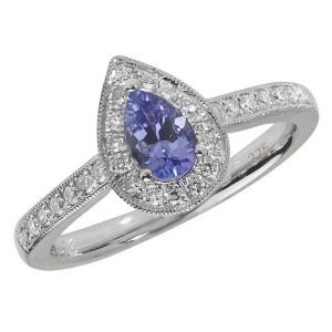 Diamond and Pear Cut Tanzanite Cluster Ring with Diamond Shoulders in 9ct White Gold