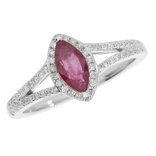 Diamond and Marquise Cut Ruby Cluster Ring with Split Diamond Set Shoulders in 9ct White Gold