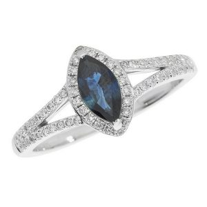 Diamond and Marquise Cut Sapphire Cluster Ring with Split Diamond Set Shoulders in 9ct White Gold