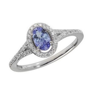 Diamond and Oval Cut Tanzanite Cluster Ring with Split Diamond Set Shoulders in 9ct White Gold