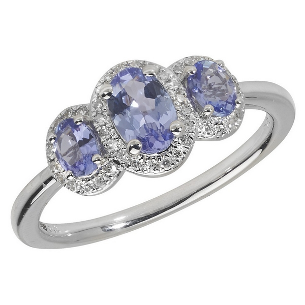 Diamond and Oval Tanzanite Trilogy Ring Set in 9ct White Gold