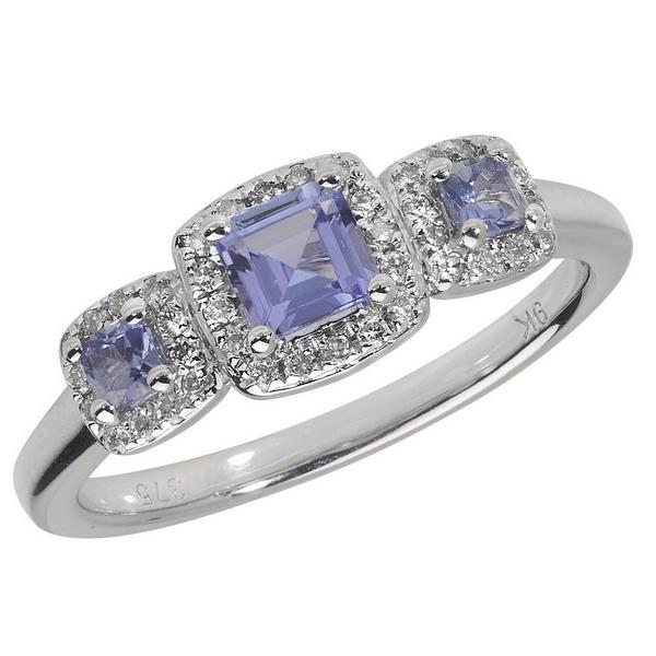 Diamond and Square Tanzanite Trilogy Ring Set in 9ct White Gold