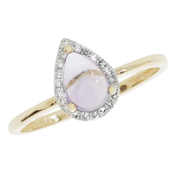 Amethyst Pear Shaped Cabochon and Diamond Dress Ring in 9ct Yellow Gold