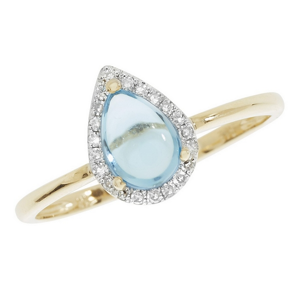 Blue Topaz Pear Shaped Cabochon and Diamond Dress Ring in 9ct Yellow Gold
