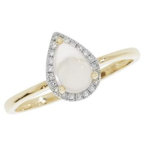 Rose Quartz Pear Shaped Cabochon and Diamond Dress Ring in 9ct Yellow Gold