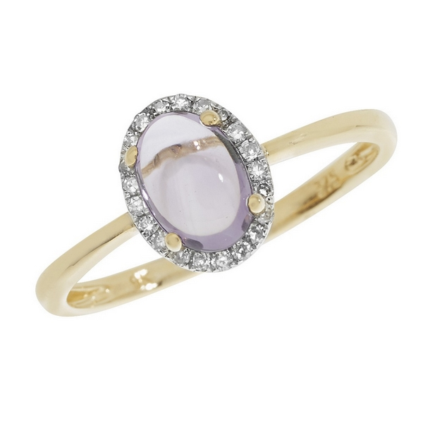 Amethyst Oval Shaped Cabochon and Diamond Dress Ring in 9ct Yellow Gold