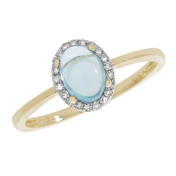 Blue Topaz Oval Shaped Cabochon and Diamond Dress Ring in 9ct Yellow Gold