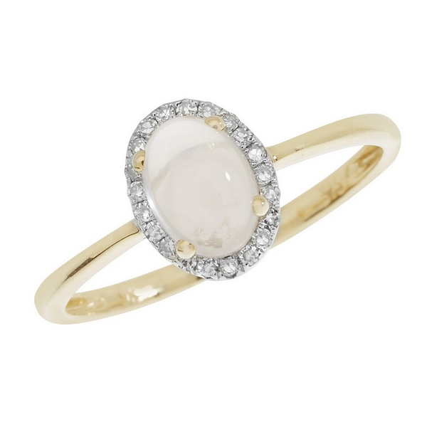 Rose Quartz Oval Shaped Cabochon and Diamond Dress Ring in 9ct Yellow Gold
