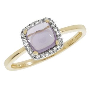 Amethyst Cushion Shaped Cabochon and Diamond Dress Ring in 9ct Yellow Gold