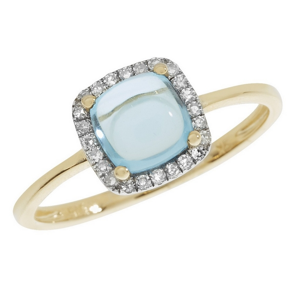 Blue Topaz Cushion Shaped Cabochon and Diamond Dress Ring in 9ct Yellow Gold