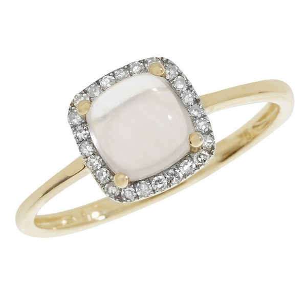 Rose Quartz Cushion Shaped Cabochon and Diamond Dress Ring in 9ct Yellow Gold