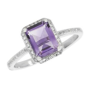 Amethyst and Diamond Cluster Ring with Diamond Set Shoulders in 9ct White Gold