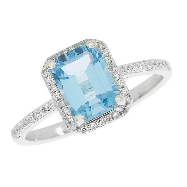 Aqua Marine and Diamond Cluster Ring with Diamond Set Shoulders in 9ct White Gold