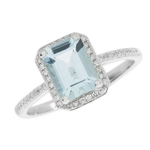 Blue Topaz and Diamond Cluster Ring with Diamond Set Shoulders in 9ct White Gold