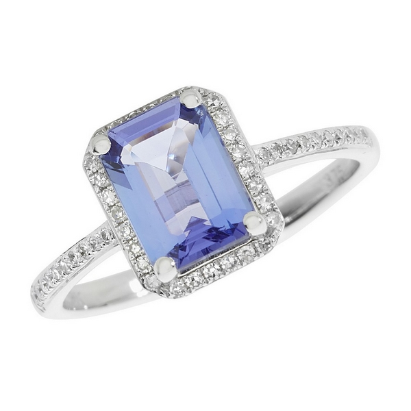 Tanzanite and Diamond Cluster Ring with Diamond Set Shoulders in 9ct White Gold
