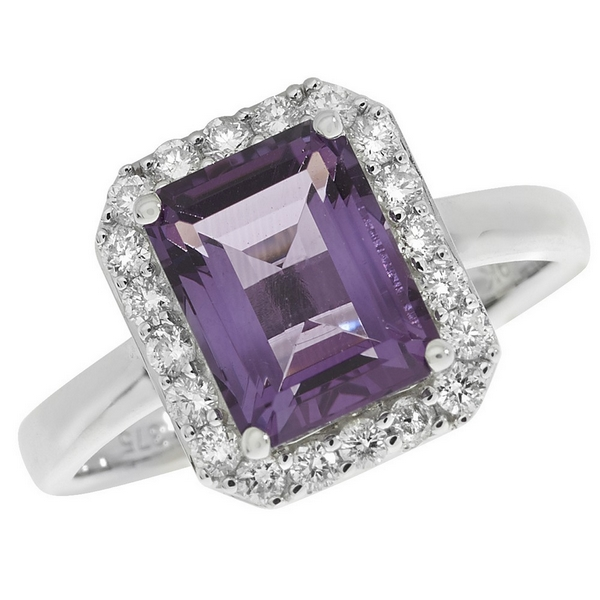 Amethyst and Diamond Cluster Ring in 9ct White Gold