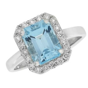 Aqua Marine and Diamond Cluster Ring in 9ct White Gold