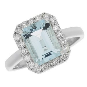 Blue Topaz and Diamond Cluster Ring in 9ct White Gold